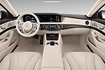 Stock photo of straight dashboard view of 2018 Mercedes Benz S-Class 450 4 Door Sedan Dashboard