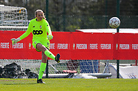 Goalkeeper Lisa Lichtfus (16) of Standard gives a pass during a female soccer game between Standard Femina de Liege and Club Brugge YLA on the 2nd matchday in play off 1 of the 2020 - 2021 season of Belgian Scooore Womens Super League , saturday 17 th of April 2021  in Angleur , Belgium . PHOTO SPORTPIX.BE | SPP | SEVIL OKTEM