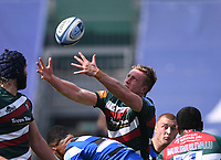 18th April 2021 2021; Recreation Ground, Bath, Somerset, England; English Premiership Rugby, Bath versus Leicester Tigers; Harry Potter of Leicester Tigers juggles a catch under pressure from Joe Cokanasiga of Bath