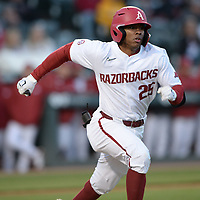 Arkansas center fielder Christian Franklin heads to first Thursday, April 1, 2021, after hitting during the fourth inning of play against Auburn at Baum-Walker Stadium in Fayetteville. Visit nwaonline.com/210402Daily/ for today's photo gallery. <br /> (NWA Democrat-Gazette/Andy Shupe)