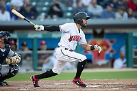 Jason Martin (2) of the Indianapolis Indians follows through on his swing at Victory Field on May 14, 2019 in Indianapolis, Indiana. The Indians defeated the RailRiders 4-2. (Andrew Woolley/Four Seam Images)