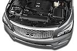 Car Stock 2017 Infiniti QX80 3.5 5 Door SUV Engine high angle detail view