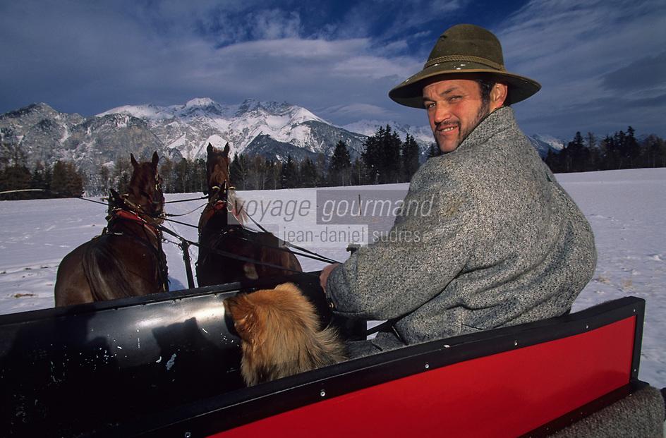 Europe/Autriche/Tyrol/Axams: Promenade en traineau avec Mr Erbensperger [Non destiné à un usage publicitaire - Not intended for an advertising use]