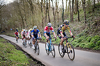 chase group led by Wout van Aert (BEL/Jumbo-Visma) &  Mathieu Van der Poel (NED/Alpecin-Fenix) up the Karnemelkbeekstraat<br /> <br /> 64th E3 Classic 2021 (1.UWT)<br /> 1 day race from Harelbeke to Harelbeke (BEL/204km)<br /> <br /> ©kramon