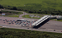 Aerial view of the M4 tolls near the Second Severn Crossing