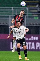 Matteo Gabbia-Roberto Piccoli<br /> Serie A football match between AC Milan and Spezia Calcio at San Siro Stadium in Milano  (Italy), October 4th, 2020. Photo Image Sport / Insidefoto