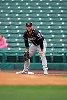 Charlotte Knights first baseman Daniel Palka (7) during an International League game against the Rochester Red Wings on June 16, 2019 at Frontier Field in Rochester, New York.  Rochester defeated Charlotte 11-5 in the first game of a doubleheader that was a continuation of a game postponed the day prior due to inclement weather.  (Mike Janes/Four Seam Images)
