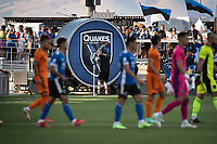 SAN JOSE, CA - JULY 24: San Jose Earthquakes players walk out in front of the PayPal Park drum during a game between San Jose Earthquakes and Houston Dynamo at PayPal Park on July 24, 2021 in San Jose, California.