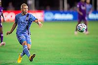 LAKE BUENA VISTA, FL - JULY 14: Anton Tinnerholm #3 of NYCFC kicks the ball during a game between Orlando City SC and New York City FC at Wide World of Sports on July 14, 2020 in Lake Buena Vista, Florida.