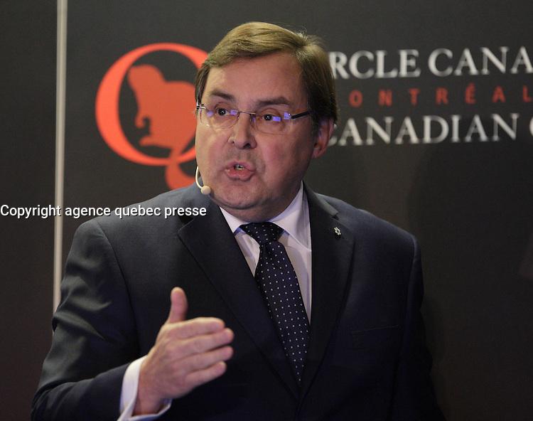Guy Breton, Rector - Université de Montreal speak at the Canadian Club of Montreal tribune,Monday, October 17, 2016<br /> <br />  Photo : Agence Quebec Presse