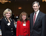 """SOUTHBURY, CT - 1 April 2004 - 040104TH05 - Kathie Hanratty of Watertown, Co-Chair of the United Way Campaign 2003-04,  Karen Pollard of Middlebury, Co-Chair of the United Way Campaign 2003-04, and Andrew Skipp of Middlebury, in-coming Chair of the 2004-05 campaign, pose at the United Way of Greater Waterbury """"Digging Deeper"""" Campaign 2003-04 Awards Dinner held at the Southbury Hilton Hotel Thursday night.  TODD HOUGAS PHOTO"""
