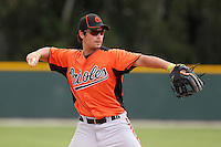 Baltimore Orioles third baseman Connor Narron during a spring training game against the Tampa Bay Rays at the Buck O'Neil Complex on March 21, 2012 in Sarasota, Florida.  (Mike Janes/Four Seam Images)