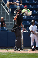 Home plate umpire Jacob Metz makes a strike call during the game between the Rochester Red Wings and the Scranton/Wilkes-Barre RailRiders at PNC Field on July 25, 2021 in Moosic, Pennsylvania. (Brian Westerholt/Four Seam Images)