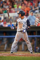 Brooklyn Cyclones right fielder Arnaldo Berrios (9) at bat during a game against the Batavia Muckdogs on July 4, 2016 at Dwyer Stadium in Batavia, New York.  Brooklyn defeated Batavia 5-1.  (Mike Janes/Four Seam Images)