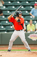 Allan de San Miguel (11) of the Frederick Keys at bat against the Winston-Salem Dash at BB&T Ballpark on July 21, 2013 in Winston-Salem, North Carolina.  The Dash defeated the Keys 3-2.  (Brian Westerholt/Four Seam Images)