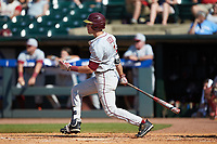 Jackson Lueck (2) of the Florida State Seminoles follows through on his swing against the Louisville Cardinals in Game Eleven of the 2017 ACC Baseball Championship at Louisville Slugger Field on May 26, 2017 in Louisville, Kentucky. The Seminoles defeated the Cardinals 6-2. (Brian Westerholt/Four Seam Images)