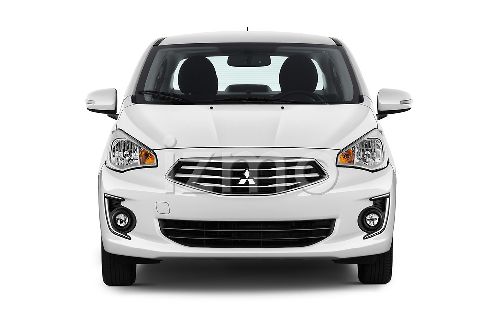 Car photography straight front view of a 2018 Mitsubishi Mirage-G4 SE-CVT 4 Door Sedan Front View