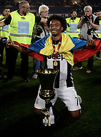 Football Soccer - Juventus - Lazio - Italian Cup Final - Olympic Stadium, Rome, Italy, May17,2017.<br /> Juventus' Juan Cuadrado celebrates with the trophy after winning the Italian Cup Final match at Rome's Olympic stadium, on May 17,2017.<br /> UPDATE IMAGES PRESS/Isabella Bonotto