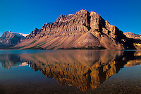 Montain Reflections in Bow Lake, Banff National Park, Alberta, Canada.