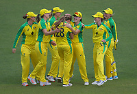 Australia celebrate dismissing Frances Mackay during the 2nd international women's T20 cricket match between the New Zealand White Ferns and Australia at McLean Park in Napier, New Zealand on Tuesday, 30 March 2021. Photo: Dave Lintott / lintottphoto.co.nz
