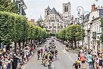 The peloton including race leader Yellow Jersey Mathieu Van Der Poel (NED) Alpecin-Fenix pass by the Cathedral of Bourges during Stage 7 of the 2021 Tour de France, running 249.1km from Vierzon to Le Creusot, France. 2nd July 2021.  <br /> Picture: A.S.O./Charly Lopez | Cyclefile<br /> <br /> All photos usage must carry mandatory copyright credit (© Cyclefile | A.S.O./Charly Lopez)