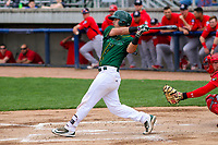 Beloit Snappers catcher Collin Theroux (23) swings at a pitch during a Midwest League game against the Peoria Chiefs on April 15, 2017 at Pohlman Field in Beloit, Wisconsin.  Beloit defeated Peoria 12-0. (Brad Krause/Four Seam Images)