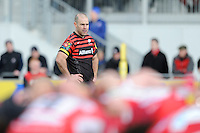 20130303 Copyright onEdition 2013©.Free for editorial use image, please credit: onEdition..Charlie Hodgson of Saracens looks on during the Premiership Rugby match between Saracens and London Welsh at Allianz Park on Sunday 3rd March 2013 (Photo by Rob Munro)..For press contacts contact: Sam Feasey at brandRapport on M: +44 (0)7717 757114 E: SFeasey@brand-rapport.com..If you require a higher resolution image or you have any other onEdition photographic enquiries, please contact onEdition on 0845 900 2 900 or email info@onEdition.com.This image is copyright onEdition 2013©..This image has been supplied by onEdition and must be credited onEdition. The author is asserting his full Moral rights in relation to the publication of this image. Rights for onward transmission of any image or file is not granted or implied. Changing or deleting Copyright information is illegal as specified in the Copyright, Design and Patents Act 1988. If you are in any way unsure of your right to publish this image please contact onEdition on 0845 900 2 900 or email info@onEdition.com