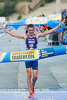 10 SEP 2011 - BEIJING, CHN - Alistair Brownlee (GBR) celebrates winning the 2011 Elite Mens ITU World Championship Series Grand Final Triathlon. His victory in a time of 1:48:06 also gave him the World Championship Series title (PHOTO (C) NIGEL FARROW)