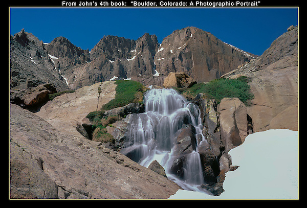 Chasm Falls and the 'Diamond' rock face on Longs Peak (14259 feet) in Rocky Mountain National Park, Colorado.<br /> John leads Rocky Mountain National Park photo tours and hikes.  All-year.