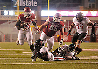 NWA Democrat-Gazette/MICHAEL WOODS • @NWAMICHAELW<br /> University of Arkansas running back Rawleigh Williams III tries to shake Texas Tech defenders as he runs the ball inside the 10 yard line in the 3rd quarter of Saturday nights game against the Razorbacks at Razorback Stadium in Fayetteville.