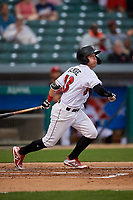 Indianapolis Indians Jake Elmore (13) at bat during an International League game against the Syracuse Mets on July 16, 2019 at Victory Field in Indianapolis, Indiana.  Syracuse defeated Indianapolis 5-2  (Mike Janes/Four Seam Images)
