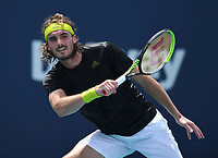 MIAMI GARDENS, FL - MARCH 27: Stefanos Tsitsipas Vs Damir Dzumhur at the 2021Miami Open at Hard Rock Stadium on March 27, 2021 in Miami Gardens, Florida. <br /> CAP/MPI04<br /> ©MPI04/Capital Pictures