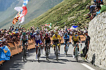 Emanuel Buchmann (GER) Bora-Hansgrohe, Thibaut Pinot (FRA) Groupama-FDJ, Egan Bernal (COL) Team Ineos, Yellow Jersey Julian Alaphilippe (FRA) Deceuninck-Quick Step, Mikel Landa (ESP) Movistar and Steven Kruijswijk (NED) Jumbo-Visma climb the Col du Tourmalet during Stage 14 of the 2019 Tour de France running 117.5km from Tarbes to Tourmalet Bareges, France. 20th July 2019.<br /> Picture: ASO/Pauline Ballet | Cyclefile<br /> All photos usage must carry mandatory copyright credit (© Cyclefile | ASO/Pauline Ballet)