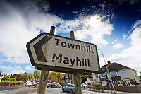 Pictured: A Townhill and Mayhill road sign in Swansea, Wales, UK. Wednesday 16 June 2021<br /> Re: Riot aftermath in the Mayhill area of Swansea, Wales, UK.