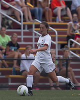 Boston College forward Alaina Beyar (17) brings the ball forward. After 2 complete overtime periods, Boston College tied Boston University, 1-1, after 2 overtime periods at Newton Soccer Field, August 19, 2011.