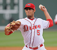 Starting pitcher Mickey Pena (5) of the Greenville Drive in a game against the Lexington Legends on May 3, 2012, at Fluor Field at the West End in Greenville, South Carolina. Pena went six innings and the Drive won, 5-3. (Tom Priddy/Four Seam Images)