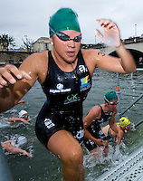 07 JUL 2012 - PARIS, FRA - Competitors head for transition after finishing the swim at the elite women's French Grand Prix round during the 2012 Triathlon de Paris held around the Pont d'Lena, Paris, France (PHOTO (C) 2012 NIGEL FARROW)