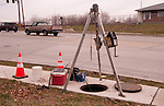 confined space setup for sanitary sewer flow monitoring