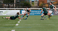Ealing's Lewis Jones avoids Nottingham's Oliver Evans during the Greene King IPA Championship match between Ealing Trailfinders and Nottingham Rugby at Castle Bar , West Ealing , England  on 18 March 2017. Photo by Carlton Myrie/PRiME Media Images.