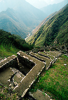 The RITUAL BATHS at the Ruins of WINAY WAYNA (forever young) on the INCA TRAIL a few hours from MACHU PICCHU - PERU