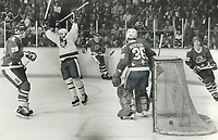 1981 FILE PHOTO - ARCHIVES -<br /> <br /> Deflection: Bruce Boudreau leaps in joy after steering in the second goal of the night for Toronto Maple Leafs during their 5-5 draw at Maple Leaf Gardens last night. During a line change, John Anderson snared a loose puck in the Quebec end and flipped it toward the net and Boudreau tipped it behind Dan Bouchard.<br /> <br /> 1981<br /> <br /> PHOTO :  Frank Lennon - Toronto Star Archives - AQP