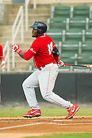 Larry Greene Jr. (14) of the Lakewood BlueClaws follows through on his swing against the Kannapolis Intimidators at CMC-Northeast Stadium on August 13, 2013 in Kannapolis, North Carolina.  The Intimidators defeated the BlueClaws 12-8.  (Brian Westerholt/Four Seam Images)