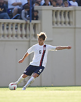 Michael Bradley sends in a cross. The USA defeated China, 4-1, in an international friendly at Spartan Stadium, San Jose, CA on June 2, 2007.