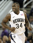 Nevada's Malik Story runs up the court after scoring against Bucknell during a second round NIT college basketball game in Reno, Nev. , on Sunday, March 18, 2012. Story scored 18 points in the 75-67 Nevada victory..Photo by Cathleen Allison