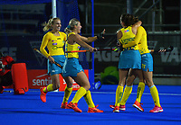 The Hockeyroos celebrate a goal during the Sentinel Homes Trans Tasman Series hockey match between the New Zealand Black Sticks Women and the Australian Hockeyroos at Massey University Hockey Turf in Palmerston North, New Zealand on Tuesday, 1 June 2021. Photo: Dave Lintott / lintottphoto.co.nz