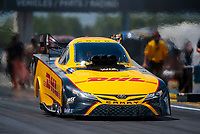 Jul 10, 2020; Clermont, Indiana, USA; NHRA funny car driver J.R. Todd during testing for the Lucas Oil Nationals at Lucas Oil Raceway. This will be the first race back for NHRA since the COVID-19 pandemic. Mandatory Credit: Mark J. Rebilas-USA TODAY Sports