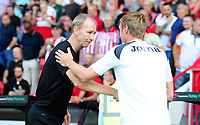 Sheffield United manager Chris Wilder and Swansea City manager Graham Potter shake hands during the Sky Bet Championship match between Sheffield United and Swansea City at Bramall Lane, Sheffield, England, UK. Saturday 04 August 2018