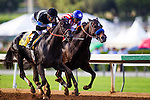 September 27 2014: Shared Belief with Mike Smith up  defeats Fed Biz to win the Awesome Again Stakes at Santa Anita Park in Arcadia CA. Alex Evers/ESW/CSM
