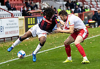 Bolton Wanderers' Peter Kioso competing with Stevenage's Ben Coker (right) <br /> <br /> Photographer Andrew Kearns/CameraSport<br /> <br /> The EFL Sky Bet League Two - Stevenage v Bolton Wanderers - Saturday 21st November 2020 - Lamex Stadium - Stevenage<br /> <br /> World Copyright © 2020 CameraSport. All rights reserved. 43 Linden Ave. Countesthorpe. Leicester. England. LE8 5PG - Tel: +44 (0) 116 277 4147 - admin@camerasport.com - www.camerasport.com