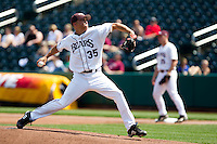 Grant Gordon (35) of the Missouri State Bears throws a pitch during a game against the Wichita State Shockers on April 9, 2011 at Hammons Field in Springfield, Missouri.  Photo By David Welker/Four Seam Images